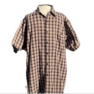 Dickies, short sleeve, plaid shirt, brown/black